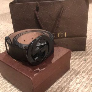 Gucci Imprime 'Interlocking G' Belt Black/Black